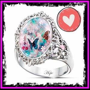 🆕 Sterling Silver Pink Sapphire Butterfly Ring